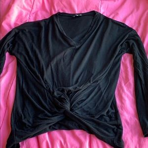 Black long sleeve with twist at bottom